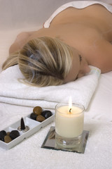 Blonde woman receiving Well Being Spa treatment