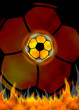 Soccer Ball Fire background. Raster illustration.