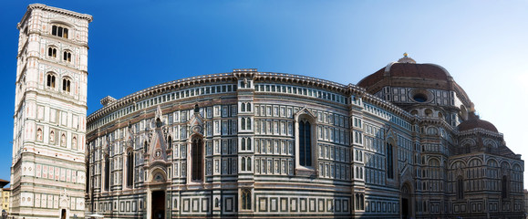 Duomo cathedral in Florence Italy. Panorama.
