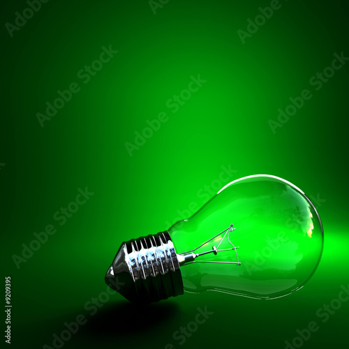 green eco background classic light bulb with space for write