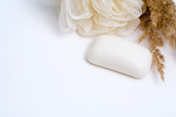 Bath background with soap, sponge and herb