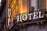 Illuminated Parisian hotel sign taken at dusk - Fine Art prints