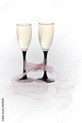Two Champagne glasses with Pink Bow Tie