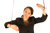 business woman marionette isolated