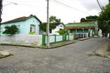 Rue d'Olinda avec carrefour et maison verte; Brésil.