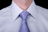 closeup of a shirt and tie required in a business formalwear poster