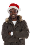 Cherished African boy with Santa Claus hat poster