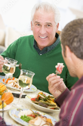Father And Son At Christmas Dinner