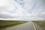 long highway in Norwegian tundra at autumn day poster
