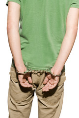 man with handcuffs in a white background