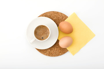 light morning meal: coffee and hard-boiled egg