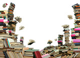 This is books scramble. Many books on white background. poster