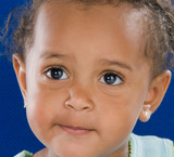 Adorable baby african a over blue background poster