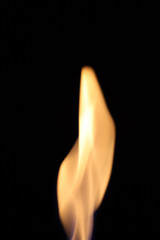 Flame isolated against a black background