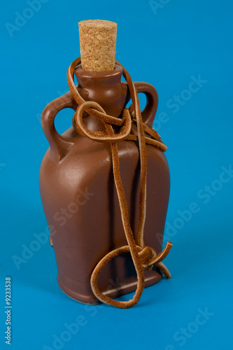 Pottery bottle with a cork