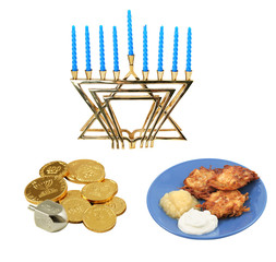 Design elements for Chanunkah - menorah, latkes, & dreidel