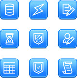 Database web icons, blue glossy buttons series poster