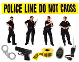 Multiple Poses of a Uniformed Police Officer on White poster
