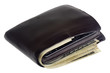 Thick fat wallet with US currency and credit cards isolated