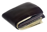 Thick fat wallet with US currency and credit cards isolated poster