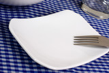 Empty plate on top of a dining table.. poster