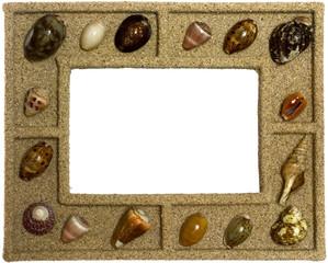 Photo frame with adorning seashells decoration isolated on white