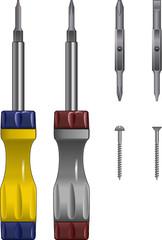 Adjustable screwdriver vectors
