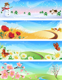 four seasons landscape poster