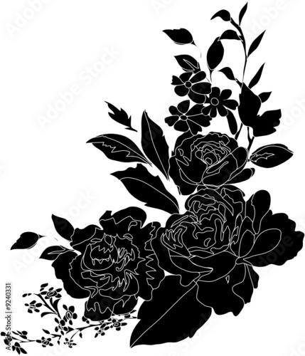 black flower decoration