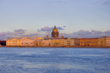 sunset above Neva river and Isaak cathedral poster