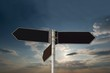 Blank signpost against amazin sky