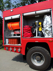 The fire-engine completed with the necessary equipment