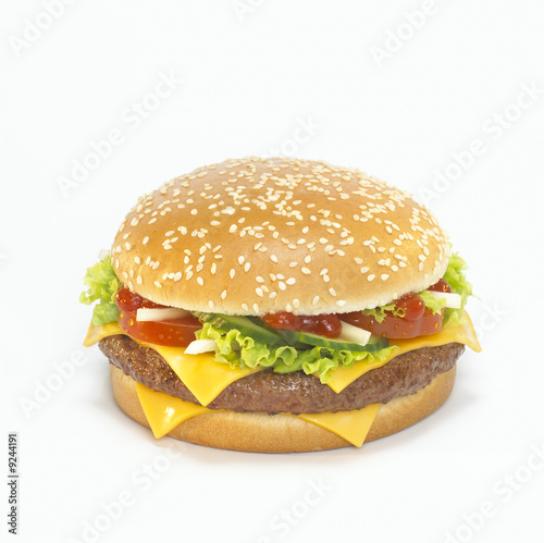 Cheeseburger, close-up, elevated view