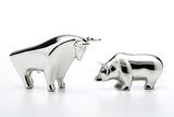 Bull and bear figurines, close-up