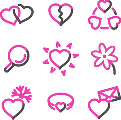 Love web icons, pink contour series
