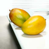 Mangos on tray, close-up