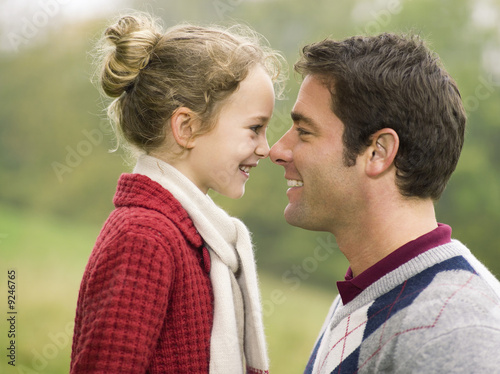 Germany, Baden-Württemberg, Swabian mountains, Father and daughter, portrait