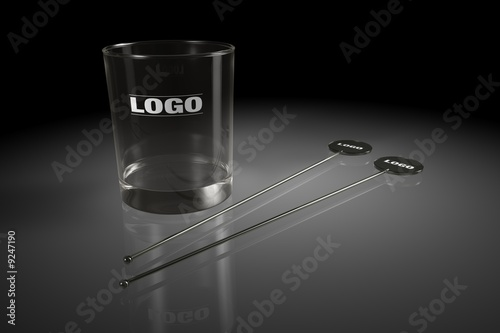 black stirred and alcohol glass on black background