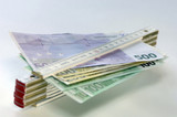 Bank notes and folding ruler