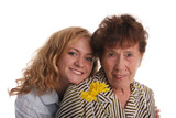 Happiness grandmother and granddaughter on a white background 2 poster
