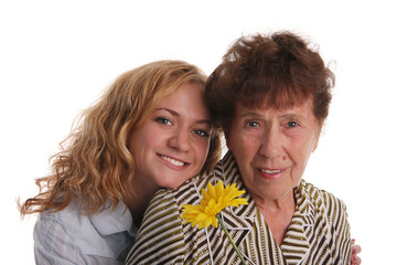 Happiness grandmother and granddaughter on a white background 2