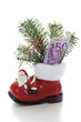 Santa boot with money