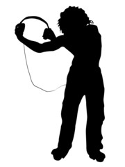 man holding headphone on isolated background