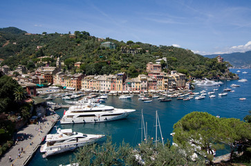 Megayachts in Portofino harbour, Italy
