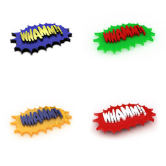 "3D Illustration of four comic style ""Whamm"" expressions"