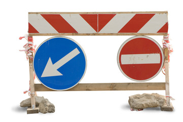 Traffic sign. The detour pointer. A rough wooden frame.