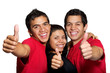 3 People with thumbs  up isolated