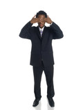 businessman in the See No Evil pose. poster