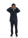 businessman in the Hear No Evil pose. poster