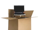 Hands delivering a laptop from a cardboard box. poster